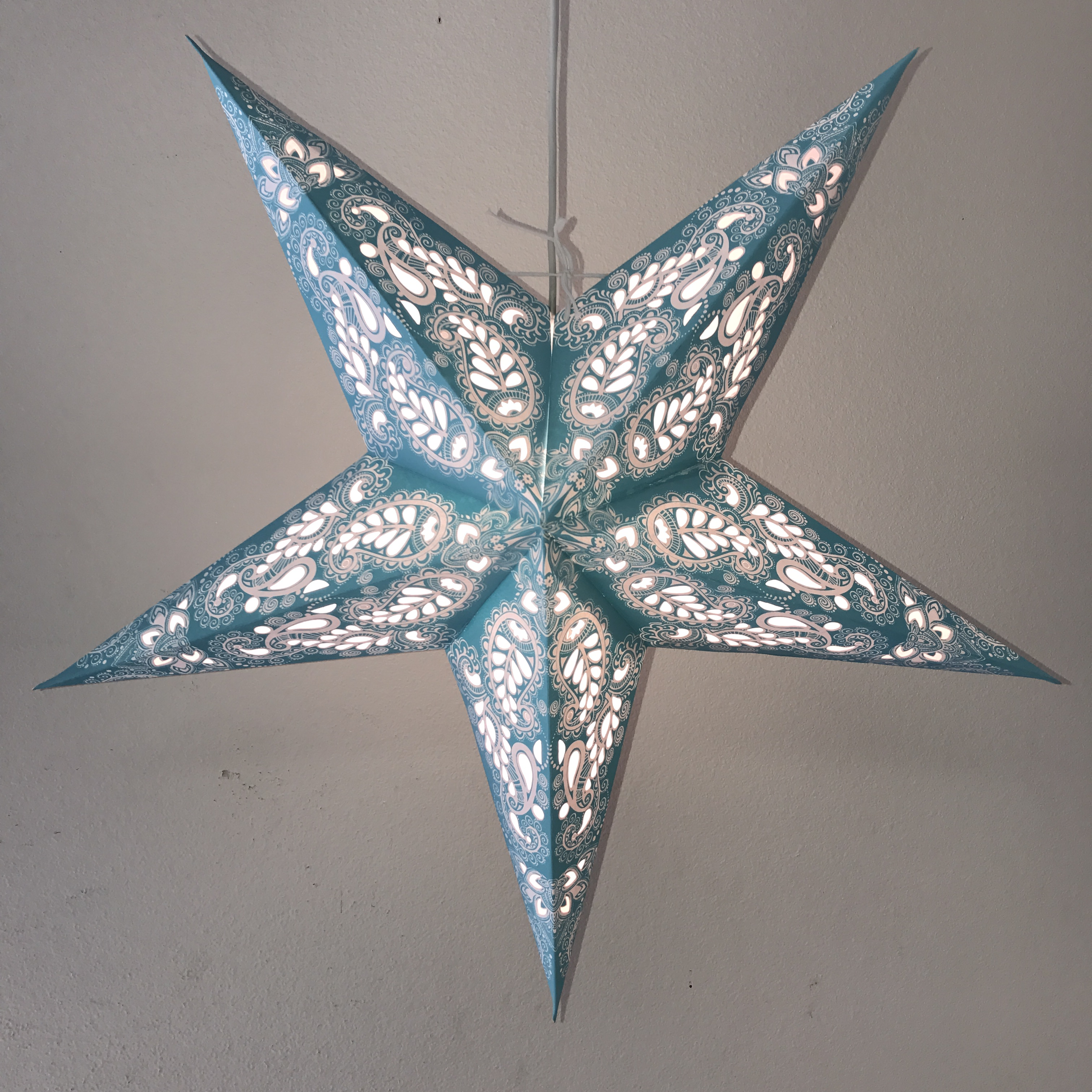Paisley Space Turquoise Star Lantern