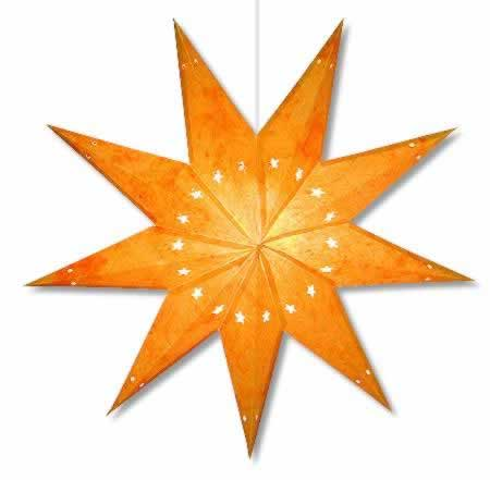Batik 9 Point Star Lamp in Yellow