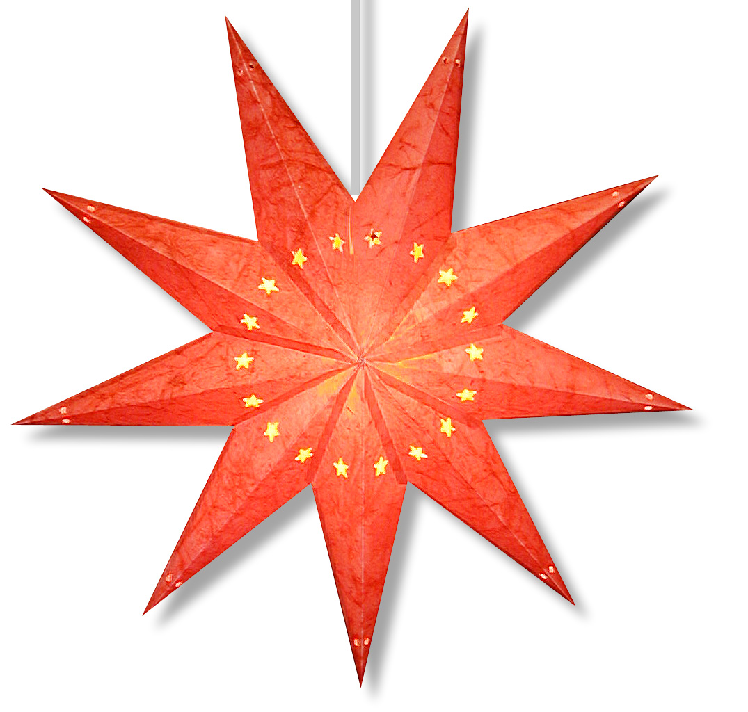 Batik 9 Point Star Lamp in Red