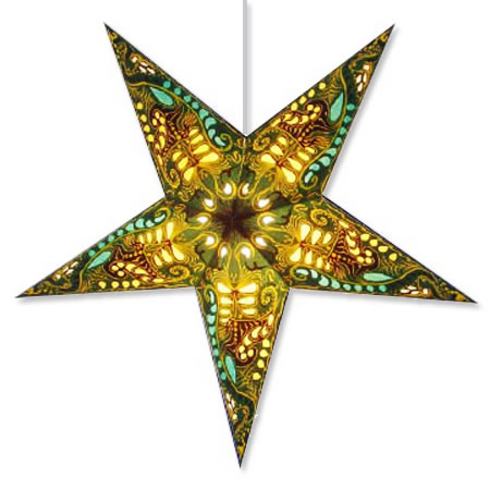 Filigree Star Lantern in Green