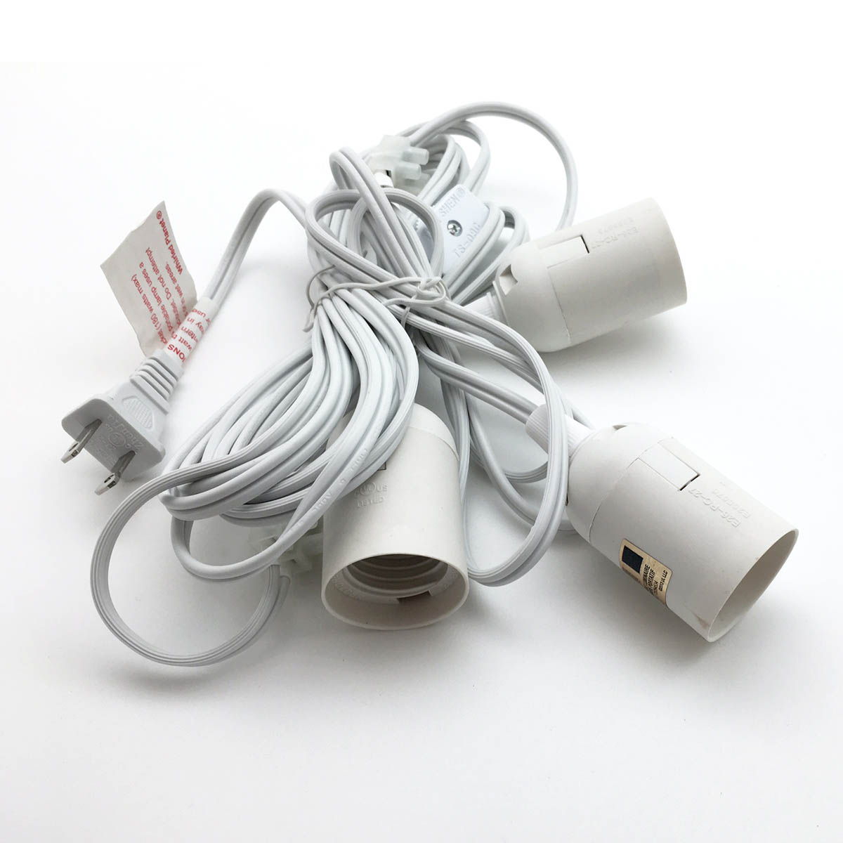 Whirled Planet Triple Socket Cord w/ On/Off Switch - White