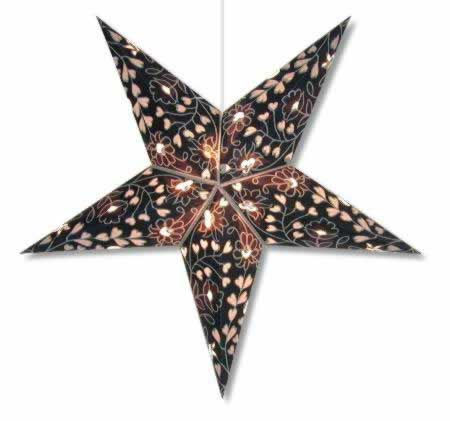 Hearts and Flowers Star Lamp in Blue and Silver
